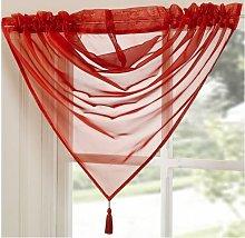 Tamara Plain Poppy Red Natural Tassel Swag 15'