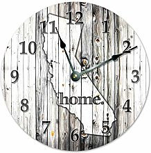 Tamengi Wall Clock, CALIFORNIA Rustic Map Clock