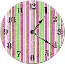 Tamengi Wall Clock, Pink Green Stripes Clock