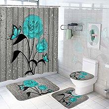 TAMOC 4 Pcs Teal Gray Rose Shower Curtain Sets