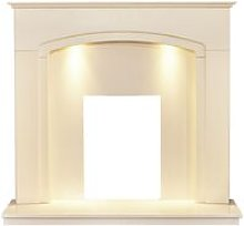 Tamworth Fireplace in Cream & Beige Marble with
