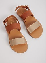 Tan & Gold Strappy Sandals - 1