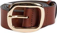 Tan Leather Gold Buckle Belt - M