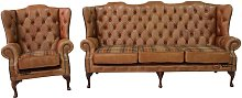 Tan Leather Wool Large Chesterfield High Back Sofa