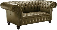 Tangires Genuine Leather 3 Seater Chesterfield