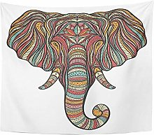 Tapestry Abstract Ethnic Boho Elephant Portrait