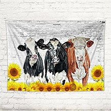 Tapestry by FDCYFFS Animal Cow Sunflower