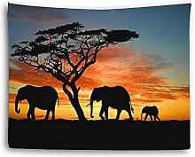 Tapestry by FDCYFFS Animal Elephant Sunset Glow