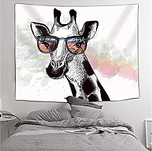 Tapestry by FDCYFFS Animal Wearing Glasses Giraffe