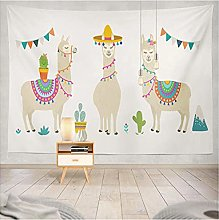 Tapestry by FDCYFFS Cute Animal Alpaca Cactus