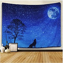 Tapestry by FDCYFFS Starry Moon Star Animal Wolf