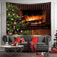 Tapestry Christmas Fireplace Tree Tapestry Wall