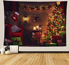 Tapestry Merry Christmas-Wall Tapestry Fireplace