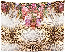 Tapestry Pink Animal Flower Mix Leopard Pattern