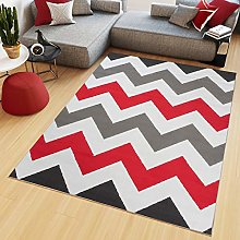 Tapiso Maya Short Pile Rug Grey White Red Modern