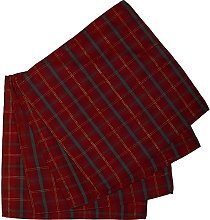 Tartan Check Pack of 4 Napkins Red & Gold Festive
