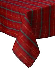 Tartan Check Woven Tablecloth Red & Gold Festive