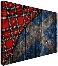 Tartan on wooden Scotland flag 12x16 inches  
