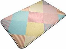 Tartan Plaid Pattern In Summer Tone Bath Mat Door
