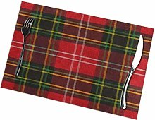 Tartan Plaid Red Green Placemats Set of 6 Washable