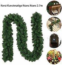 TARTIERY 2.7m Plain Green Christmas Garlands,