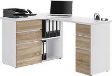 Tartufo Corner Desk, Icy White/Sonoma Oak, Free
