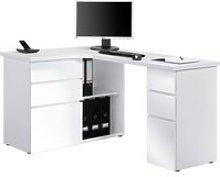Tartufo Corner Desk, Icy White/White High Gloss