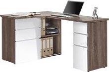 Tartufo Corner Desk (Truffle Oak/White Gloss)