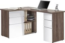 Tartufo Corner Desk, Truffle Oak/White High Gloss,