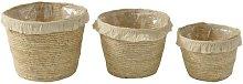 Tassel Band Maize Wicker 3 Piece Basket Set Bay