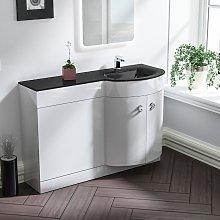 Tate Bathroom D Shape Black Glass Basin Vanity Wc