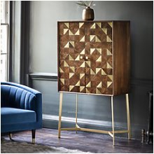 Tate Drinks Cabinet in Brown with Brass Finish -