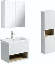 Tate II white & oak furniture package with wall