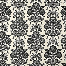 Tatton Charcoal Damask Design Floral Metallic