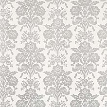 Tatton Silver Damask Design Floral Metallic Flower