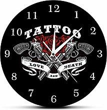 Tattoo Logo Printed Wall Clock Love And Death Rose