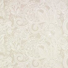 Taupe/Beige Abstract Swirling Flowers PVC Vinyl