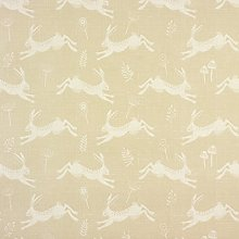 Taupe Beige Leaping Hares Matte Finish Oilcloth