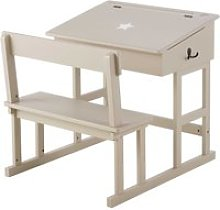 Taupe Children's Desk with White Star Print