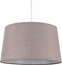 Taupe Faux Linen Ceiling Pendant / Table Lamp
