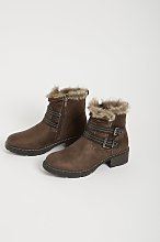 Taupe Faux Suede Twin Buckle Boot - 4