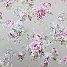 Taupe Rose Garden Cotton Rich Linen Look Fabric