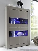 Taylor Display Cabinet In Matt Beige With 4 Doors