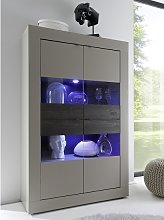 Taylor Display Cabinet Wide In Matt Beige And