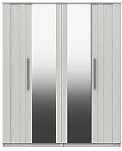Taylor Part Assembled 4 Door Mirrored Wardrobe