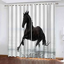 TDYGFC Blackout Curtains 2 Panels Set Black animal