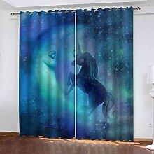 TDYGFC Blackout Curtains 2 Panels Set Blue starry