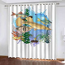 TDYGFC Blackout Curtains 2 Panels Set Coral fish