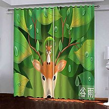 TDYGFC Blackout Curtains 2 Panels Set Elk in the