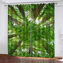 TDYGFC Blackout Curtains 2 Panels Set Green trees